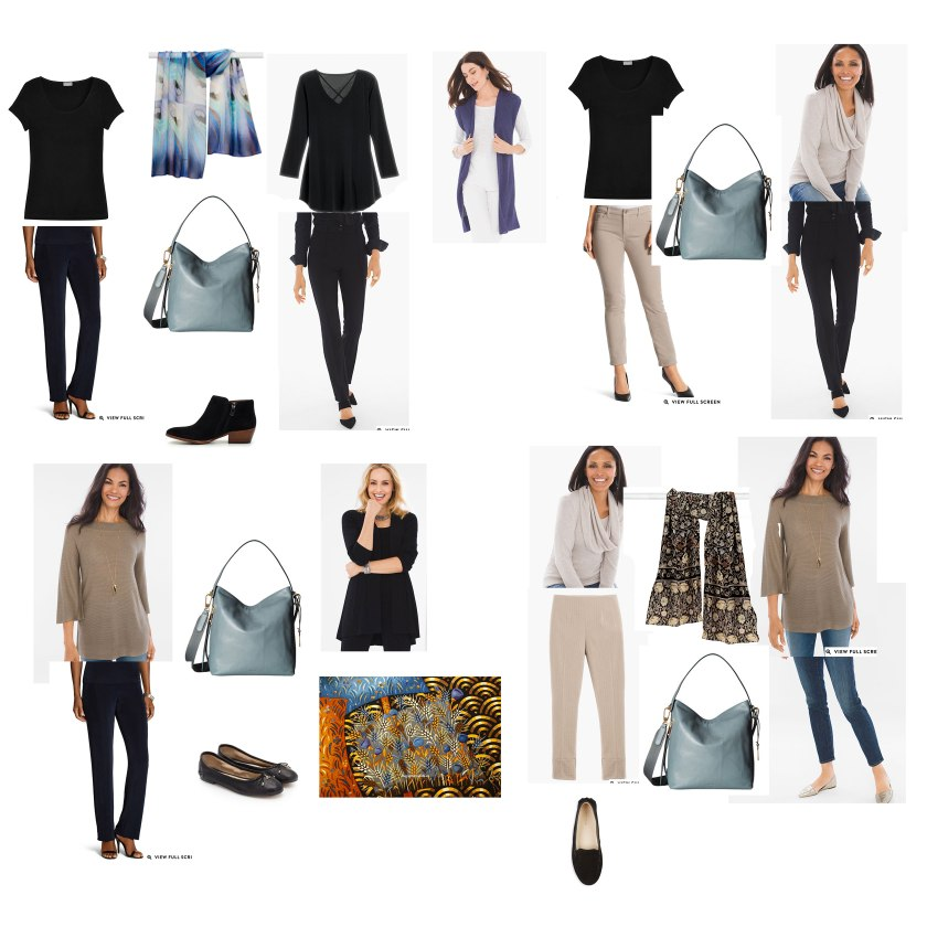 Capsule wardrobe for travel in black and taupe