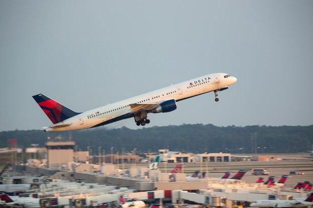 Delta flight leaves Atlanta Hartsfield-Jackson airport. Photograph, iStock Photos.