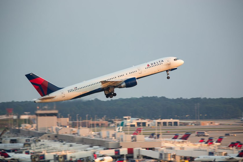 Delta flight leaves Atlanta Hartsfield-Jackson airport. Photograph, iStock Photos.