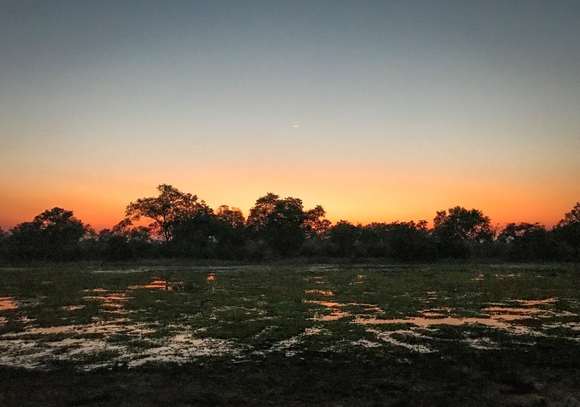 Sunset on a lagoon in South Luangwa National Park