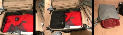 (Left) View of suitcase with two pairs of shoes tucked around packing folder. (Center) Toiletry bag in suitcase. (Right) Packing cube tucked into purse.