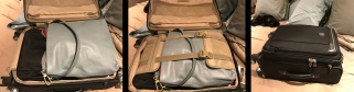 (Left) Purse with packing cube inside it now in suitcase. (Center) Suitcase flaps buckled closed. (Right) Spinner suitcase zipped shut.