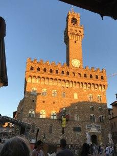 Sunset on the Palazzo della Signoria.