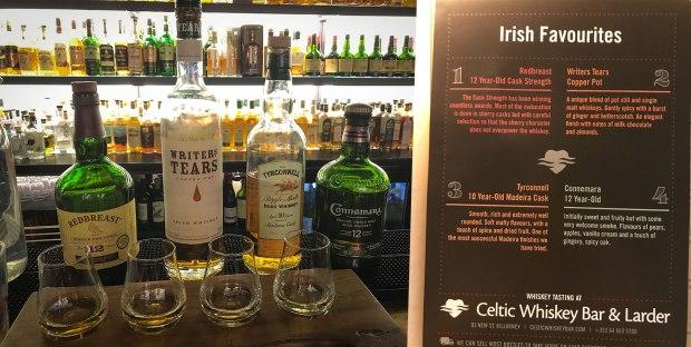 Irish Whiskey flight Celtic Whiskey Bar Killarney