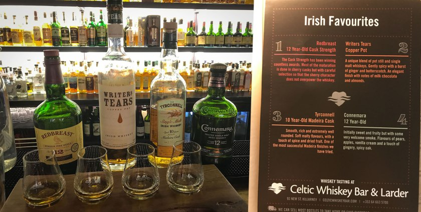 Irish Whiskey flight Celtic Whiskey Bar Killarney