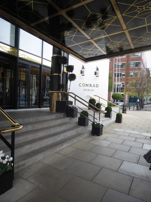 Entrance to the Conrad Hotel in Dublin.