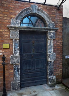 #7 Eccles Street is home to the Bloom family in Joyce's book, Ulysses. In real life, Joyce visited his friend, John Francis Burn, in his home at #7 Eccles Street several times before writing Ulysses. The real door is on display at the Joyce Center.