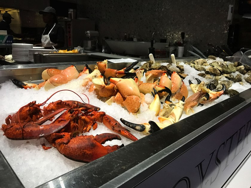 Stone crab claws, fresh lobster, and raw oysters at Blue Moon Seafood Company, Ft. Lauderdale.