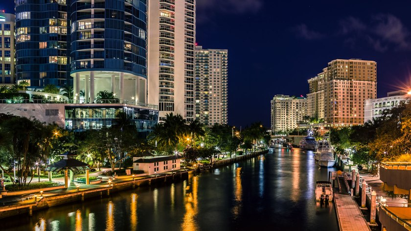 Riverwalk Arts and Entertainment District of Ft. Lauderdale at night.