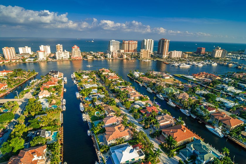Aerial view of Ft. Lauderdale's waterways - the Venice of the United States