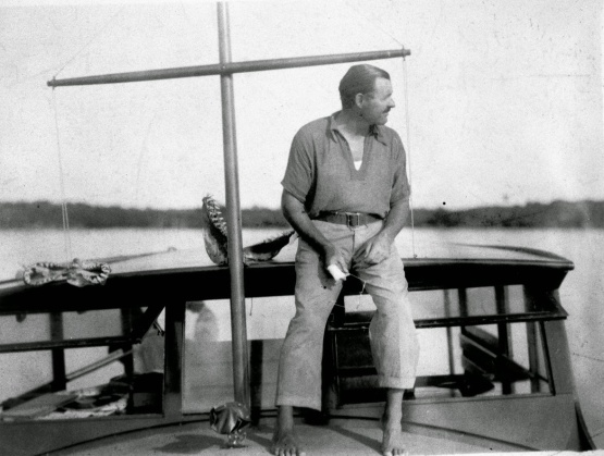 Hemingway on his boat El Pilar in Key West