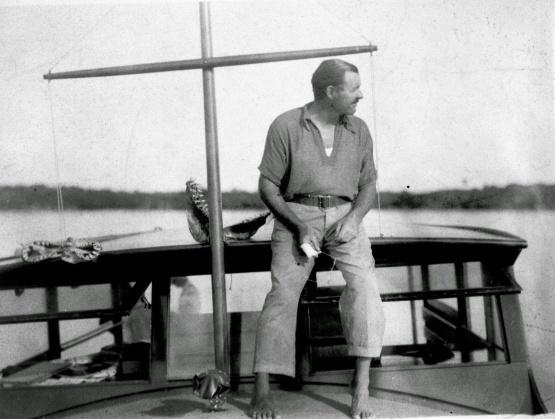 Hemingway on his boat El Pilar in Key West