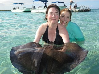 Swimming with the rays in Antigua.