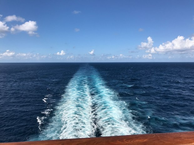 Wake behind cruise ship.