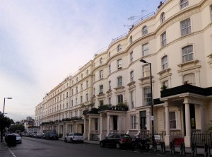 A row of Victorian townhouses in the Bayswater area of West London.