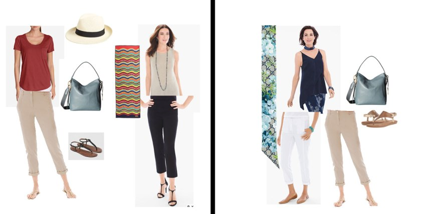 Set of possible day time wardrobe combinations from the 2 Week Cruise Capsule Wardrobe