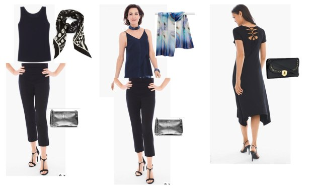 Set of possible evening wardrobe combinations from the 2 Week Cruise Capsule Wardrobe