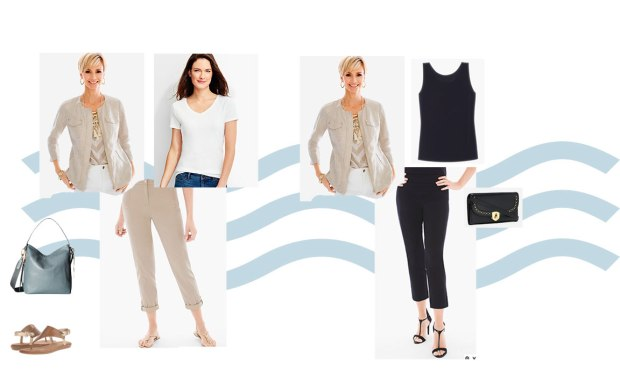 Set of possible wardrobe combinations from the 2 Week Cruise Capsule Wardrobe