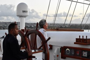 Captain Mariusz and first mate Marco take us back into the harbor at Barbados. So sad when the cruise is over!