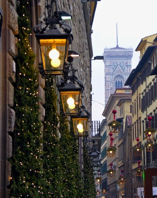 Christmas decorations and Giotto's Bell Tower Florence