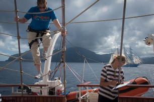 Climbing the mast of Royal Clipper