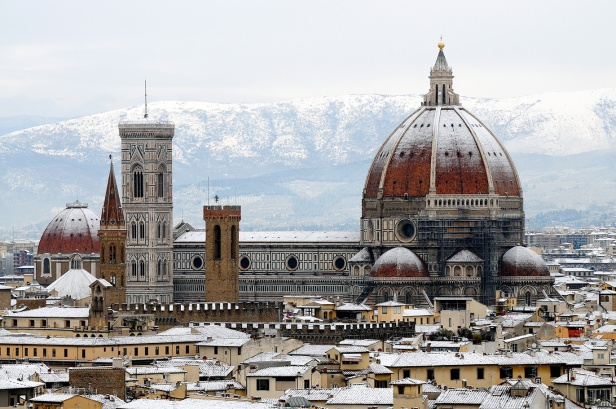 The Duomo of Florence in the snow.