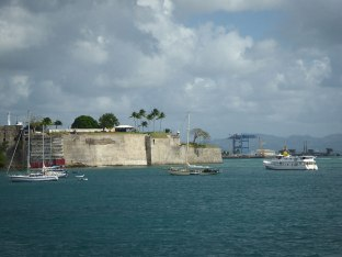 Sailing into the harbor of Fort de France, Martinique.