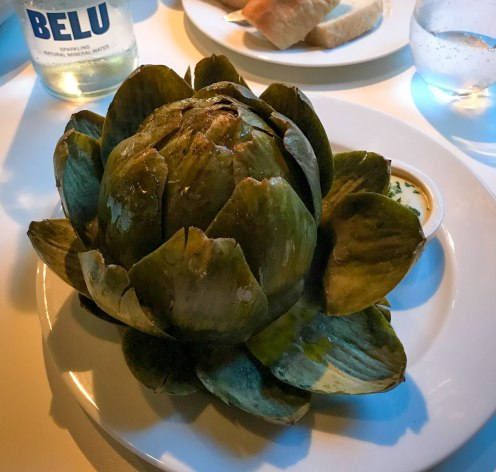 globe artichoke served with vinaigrette at the Hereford Road restaurant Notting Hill Gate in London
