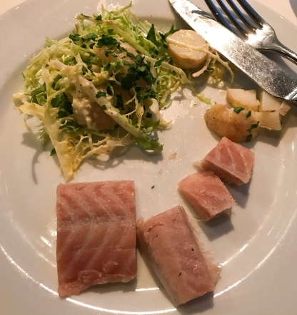Smoked eel served cold along with potatoes and a bit of frisée. Hereford Road restaurant Notting Hill London