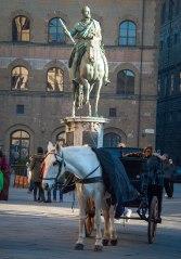 Horse and statue of Cosimo de Medici in the piazza della Signoria.