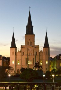 St. Louis Cathedral at Dusk.