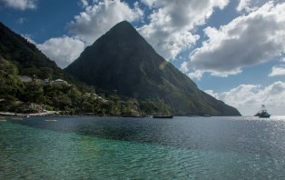View of the Pitons, from jalousie Beach