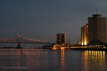 Twilight on the Mississippi River, looking towards the GNO Bridge.