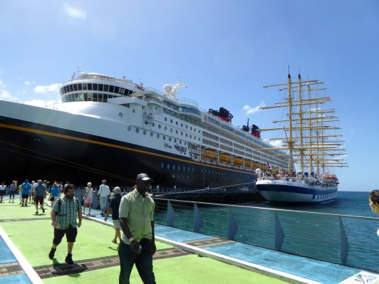 For perspective -- here is Royal Clipper docked next to Disney Wonder in Fort de France.