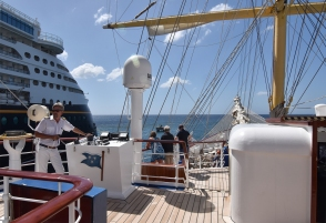 Sailing away from Martinique.