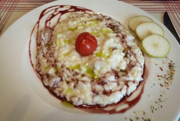 Risotto with Pecorino and Pear and ristorante Poggio Antico in Montalcino.