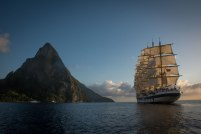 Royal Clipper sets sail near the Pitons in St. Lucia.