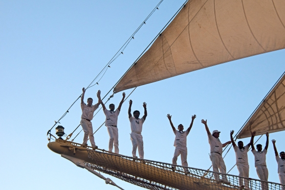 Close up of the sailors lined up along the bowsprit of Royal Clipper