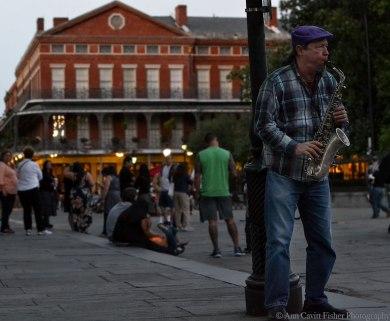Sax player on Jackson Square