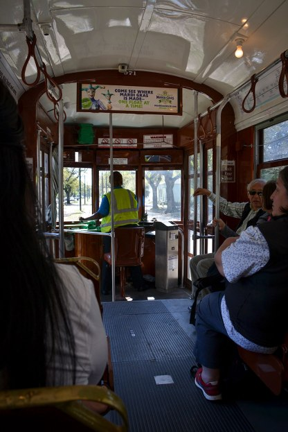 Riding the streetcar in New Orleans.