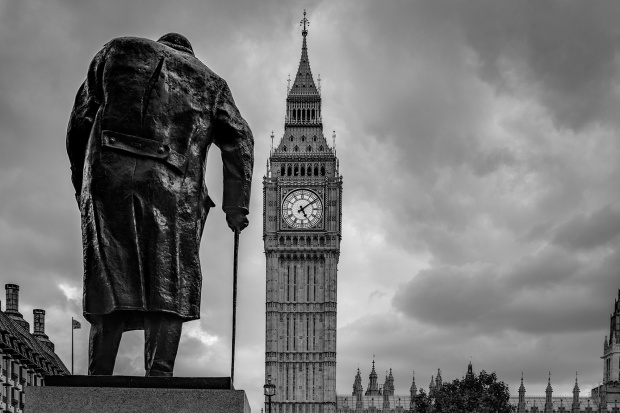 Darkest Hour: The statue of Winston Churchill looks towards the Houses of Parliament and Big Ben. Photograph