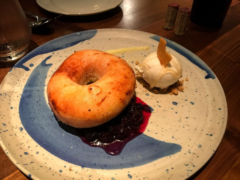 Brioche donut dessert at Fixe restaurant in Austin, Texas