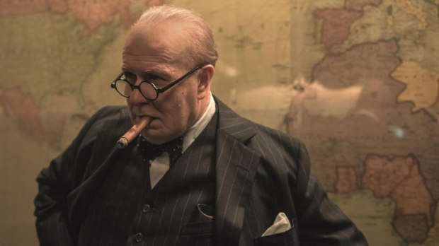 Gary Oldman as Churchill in the Map Room.