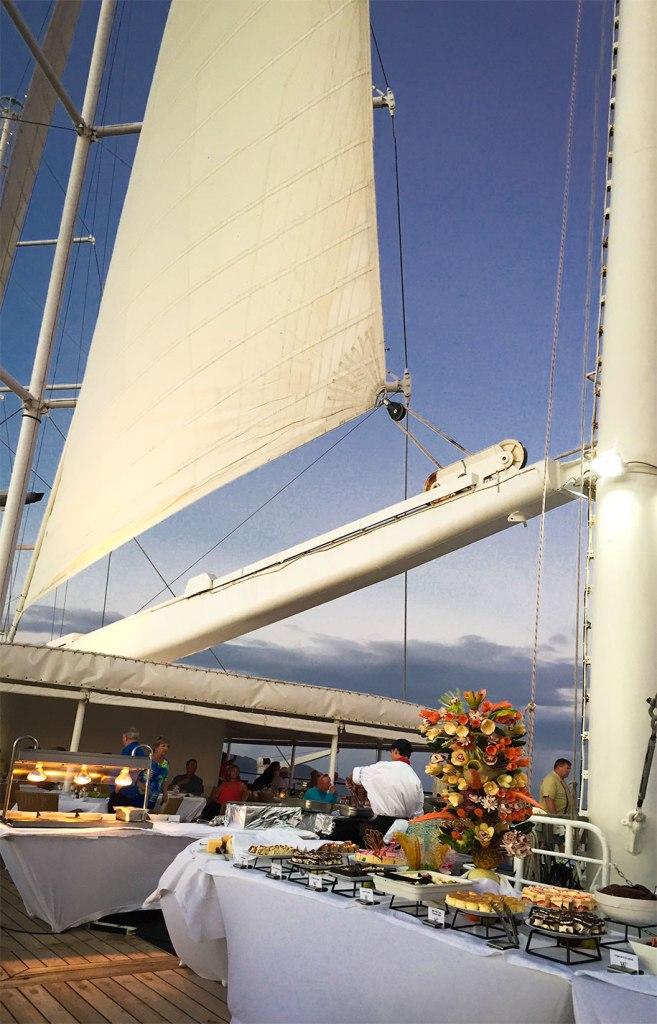Dinner on the deck of Windstar's Wind Surf