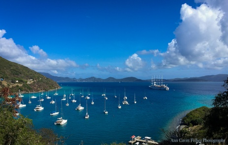 Wind Surf moored in Great Harbour on Jost Van Dyke.