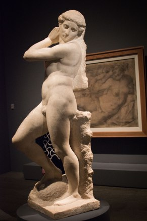 Michelangelo, Apollo-David (unfinished). displayed in the exhibit Michelangelo Divine Draftsman and Designer exhibit at the Metropolitan Museum of Art in New York