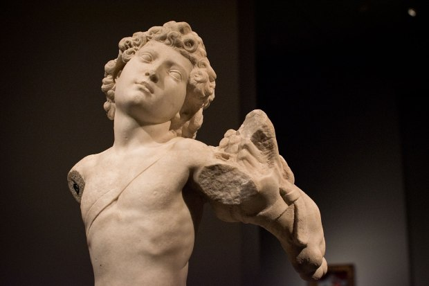 Detail of the Young Archer, by Michelangelo displayed in the exhibit Michelangelo Divine Draftsman and Designer exhibit at the Metropolitan Museum of Art in New York