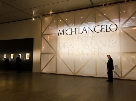 Entrance to displayed in the exhibit Michelangelo Divine Draftsman and Designer exhibit at the Metropolitan Museum of Art in New York