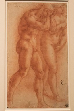 Michelangelo's sketch of Masaccio's fresco Expulsion from the Garden displayed in the exhibit Michelangelo Divine Draftsman and Designer exhibit at the Metropolitan Museum of Art in New York