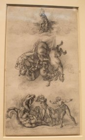 Michelangelo, Fall of the Phaeton. Windsor Castle - The Royal Collection. displayed in the exhibit Michelangelo Divine Draftsman and Designer exhibit at the Metropolitan Museum of Art in New York